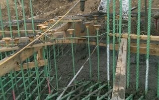 rebar & wood framed area